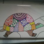 A cell phone camera shot of the Zen-turtle in progress.